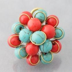 Brass Reconstructed Turquoise and Red Coral Cluster Ring (Thailand)