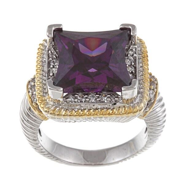 La Preciosa Two-tone Purple and White Cubic Zirconia Ring