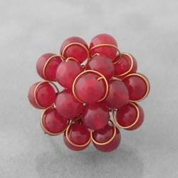 Brass Cherry Quartz Organic Cluster Ring (Thailand)