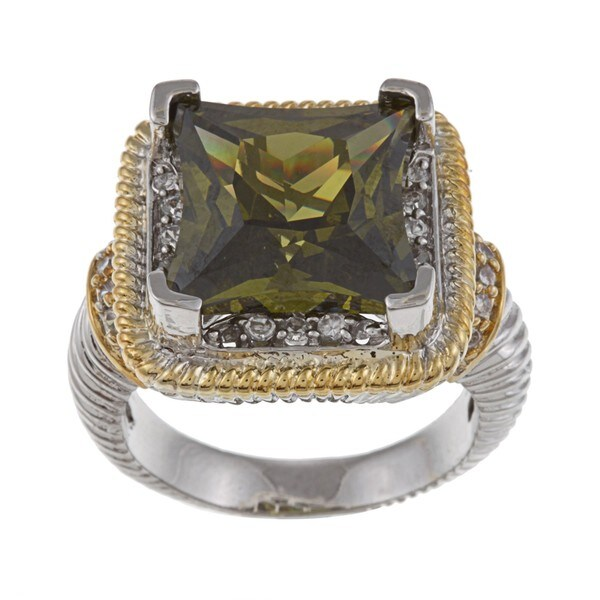 La Preciosa Two-tone Green and White Cubic Zirconia Ring