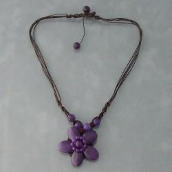 Cotton Rope Charming Amethyst Flower Necklace (Thailand)