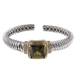 La Preciosa Two-tone Green and White Cubic Zirconia Bangle Bracelet