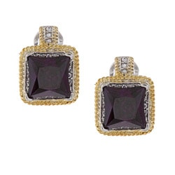 La Preciosa Two-tone Purple and White Cubic Zirconia Earrings