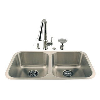 Undermount Double Stainless Sink and Faucet Combo Kit