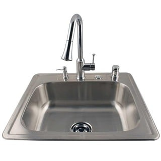 Drop-in Stainless Sink and Chrome Faucet Combo