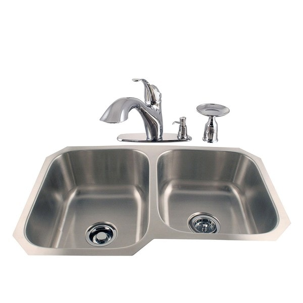 Undermount Double Stainless Sink and Chrome Faucet Combo Kit ...