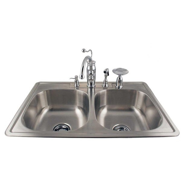 Drop-in Double Stainless Steel Sink and Chrome Faucet Combo Kit ...