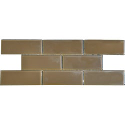 Brown Sugar 3x8-inch Shiny Glass Tiles (Case of 67)