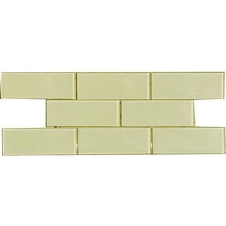 Vanilla Cream 3x8-inch Shiny Glass Tiles (Case of 67)