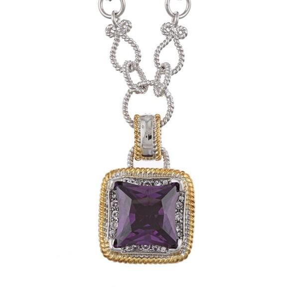 La Preciosa Two-tone Purple and Clear Cubic Zirconia Charm Necklace