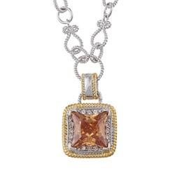 La Preciosa Two-tone Champagne and Clear Cubic Zirconia Charm Necklace