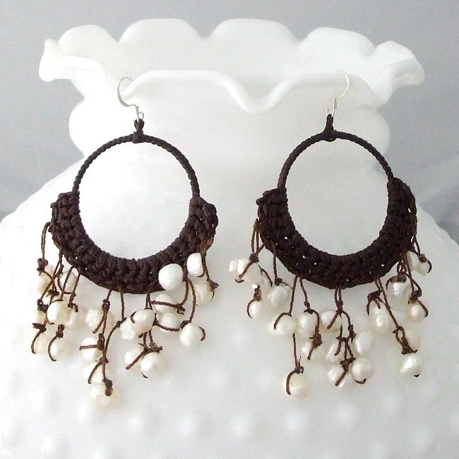 Cotton Modern Chandelier White Pearl Earrings (6-10 mm) (Thailand)