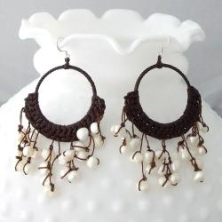 Cotton Modern Chandelier White Pearl Earrings (6-10 mm) (Thailand)