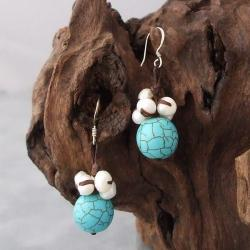 Cotton Turquoise Ball and Pearl Dangle Earrings (5-7 mm) (Thailand)