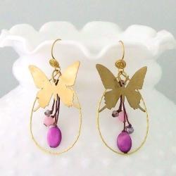 Brass Golden Butterfly Purple Shell Dangle Earrings (Thailand)