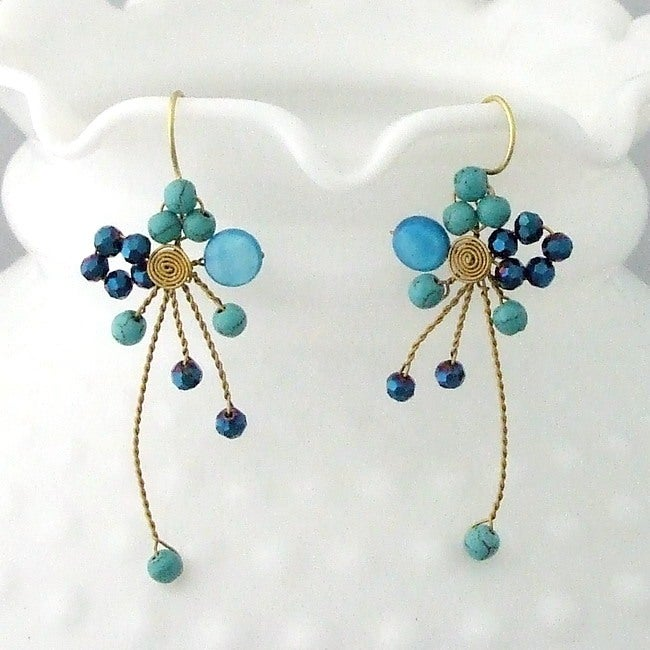 Brass Abstract Star Cluster Turquoise/ MOP/ Crystal Earrings (Thailand)