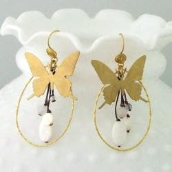 Brass Golden Butterfly White Shell/ Quartz/ Crystal Earrings (Thailand)