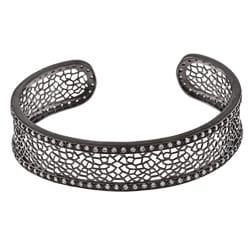 La Preciosa Black-plated Clear Cubic Zirconia Cuff Bracelet