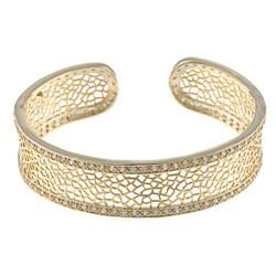 La Preciosa Goldtone Clear Cubic Zirconia Cuff Bracelet