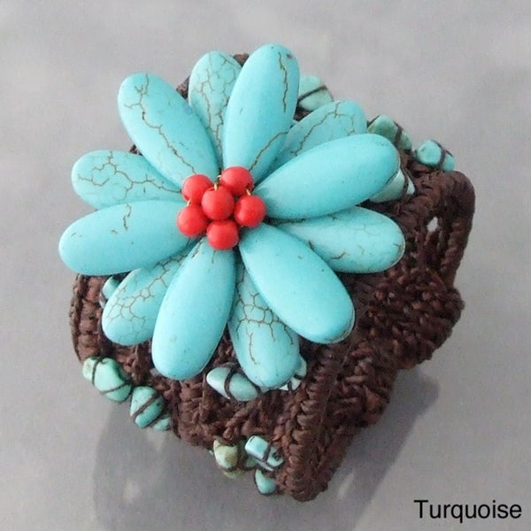Cotton Rope Wide Turquoise and Coral Flower Cuff Bracelet (Thailand)
