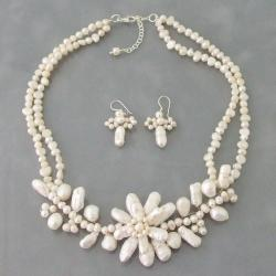 White Pearl Floral Jewelry Set (5-20 mm) (Thailand)