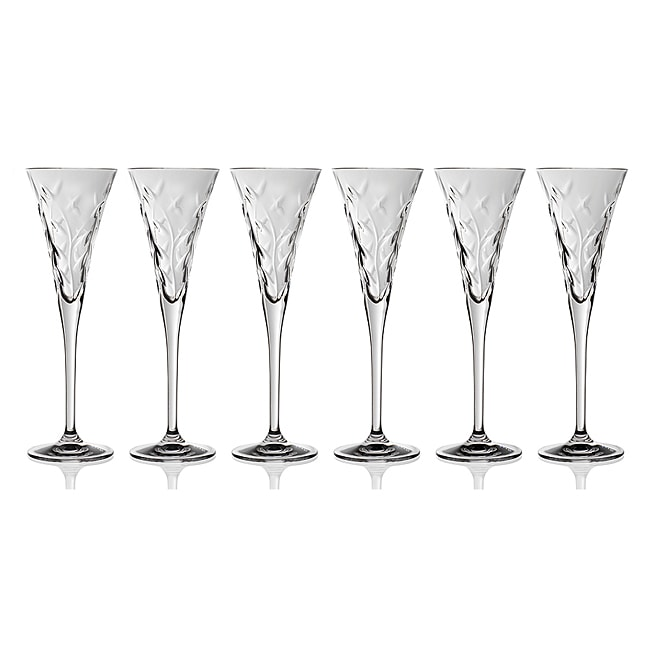 Laurus Collection Crystal Champagne Glasses (Set of 6)