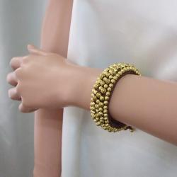 Round Brass Beads Golden Mosaic Cotton Rope Bracelet (Thailand)