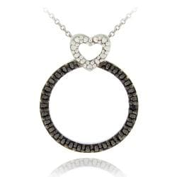 DB Designs Sterling Silver Black Diamond Accent Heart on Circle Necklace