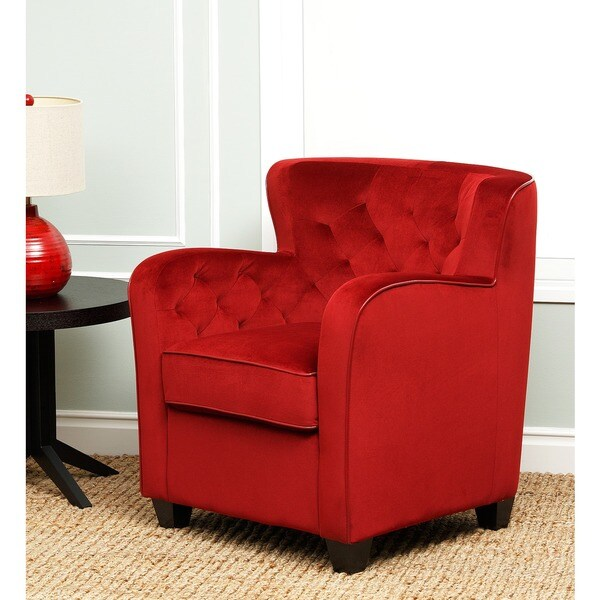Abbyson Living Messana Ruby Red Microsuede Armchair