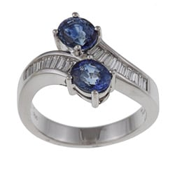 Kabella 18k White Gold Sapphire and 1/3ct TDW Diamond Bypass Ring (G-H, SI1-SI2)