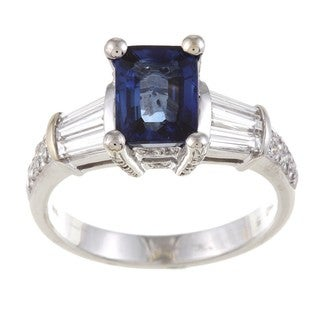 Kabella 18k White Gold Blue Sapphire and 3/4ct TDW Diamond Ring (G-H, VS1-VS2)