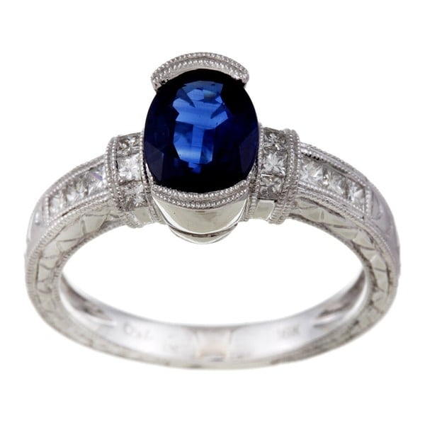 Kabella 18k White Gold Blue Sapphire and 3/8ct TDW Diamond Ring (G-H, SI1-SI2)