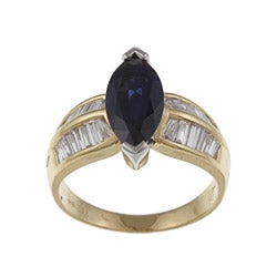 Kabella 18k Yellow Gold Blue Sapphire and 7/8ct TDW Diamond Ring (H-I, SI1-SI2)