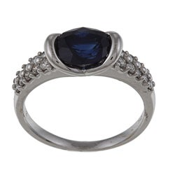 Kabella 18k White Gold Sapphire and 3/8ct TDW Diamond Ring (G-H, VS1-VS2)(Size 6.5)