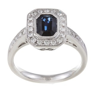 Kabella 18k White Gold Blue Sapphire and 2/5ct TDW Diamond Ring (G-H, VS1-VS2)