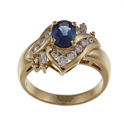 Kabella 18k Yellow Gold Sapphire and 5/8ct TDW Diamond Ring (G-H, SI1-SI2) (Size 7)