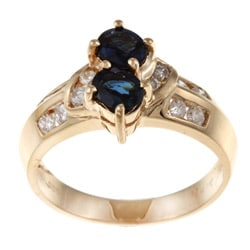 Kabella 14k Yellow Gold Blue Sapphire and 1/3ct TDW Diamond Ring (G-H, VS1-VS2)
