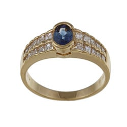 Kabella 18k Yellow Gold Sapphire and 3/4ct TDW Diamond Ring (GH, SI1-SI2)