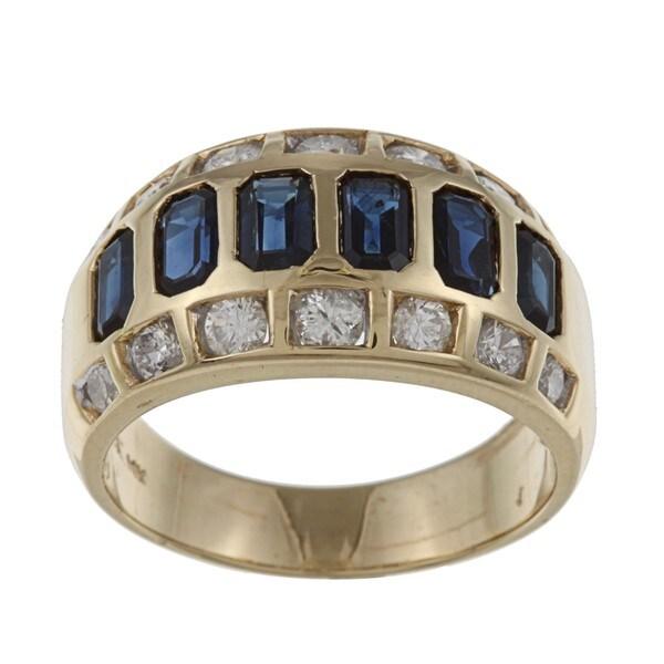 Kabella 14k Yellow Gold Sapphire and 7/8ct TDW Diamond Ring (G-H, VS1-VS2)