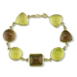 Miadora 14k Yellow Gold Lemon Quartz and Smokey Quartz Bracelet