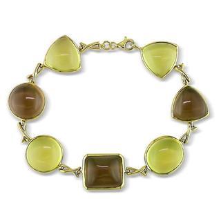 Miadora 14k Yellow Gold Lemon Quartz and Smokey Quartz Bracelet