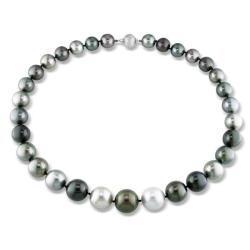 Miadora 14k Gold Black Tahitian Pearl and Diamond Accent Necklace (13-16 mm)