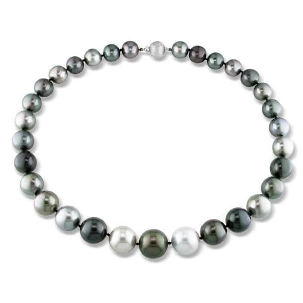Miadora Signature Collection 14k Gold Black Tahitian Pearl and Diamond Accent Necklace (13-16 mm)
