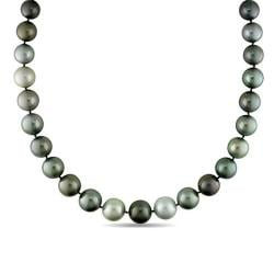 Miadora Black Tahitian Pearl and Diamond Accent Necklace (12.2-15.4 mm)