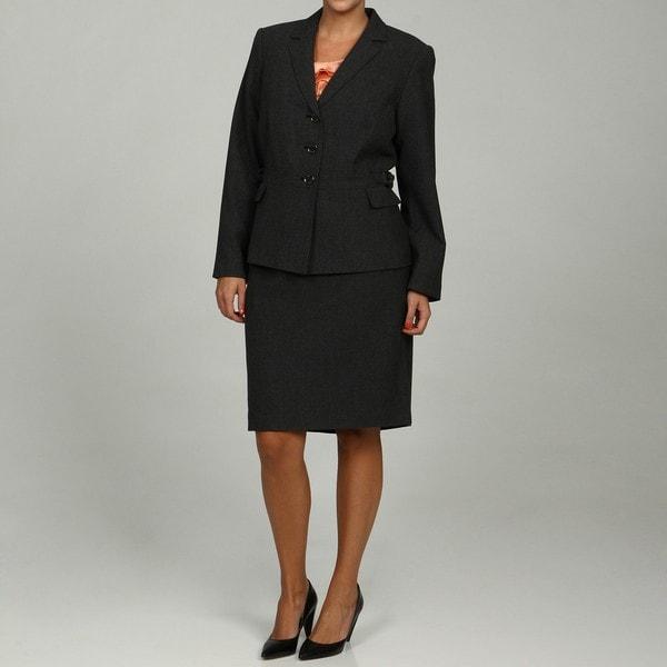 Calvin Klein Women's Black/ Charcoal 2-piece Skirt Suit