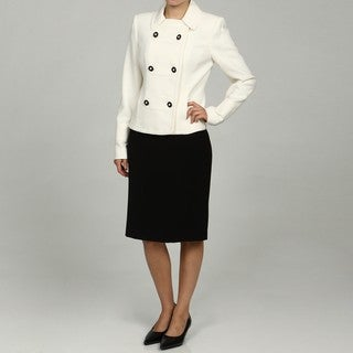 Calvin Klein Women's Cream/ Black 2-piece Skirt Suit