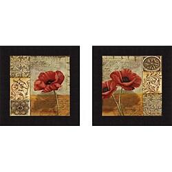 Conrad Knutsen 'Poppy Flourish I & II' Framed Print