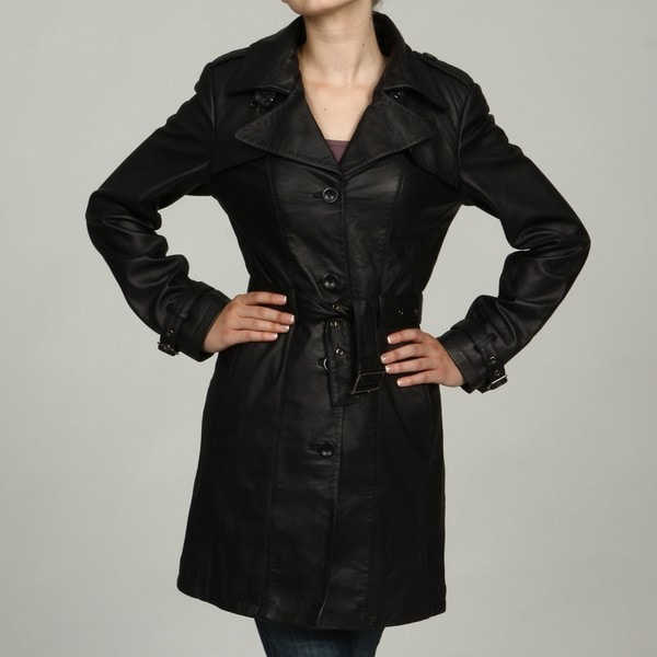 Izod Women's Plus Size Black Leather Trench Coat