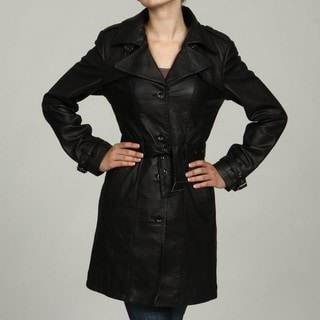 Izod Women's Black Lambskin Leather Belted Trench Coat