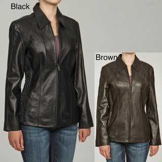 Izod Women's New Zealand Lambskin Leather Scuba Jacket